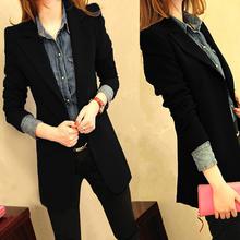 2017春秋装新款韩版小西装女外套中长款时尚修身黑色休闲西服上衣