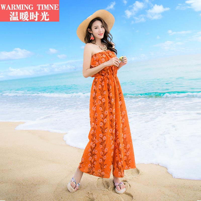温暖时光 新款沙滩裙裤连体裤一字领民族风连衣长裤雪纺阔腿裤