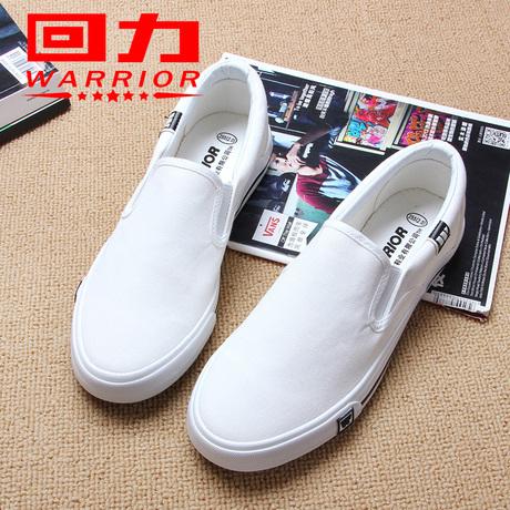 回力帆布鞋女鞋百搭秋季学生韩版白色一脚蹬懒人情侣女板鞋小白鞋商品大图