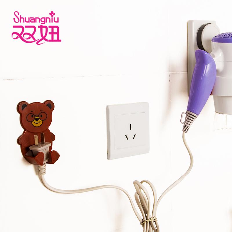 雙妞 2個裝粘貼式電器插頭掛鉤 家用整理收納架卡通動物插座粘鉤