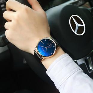 男表时尚真皮带手表男石英表潮流男士手表学生防水时装表机械腕表