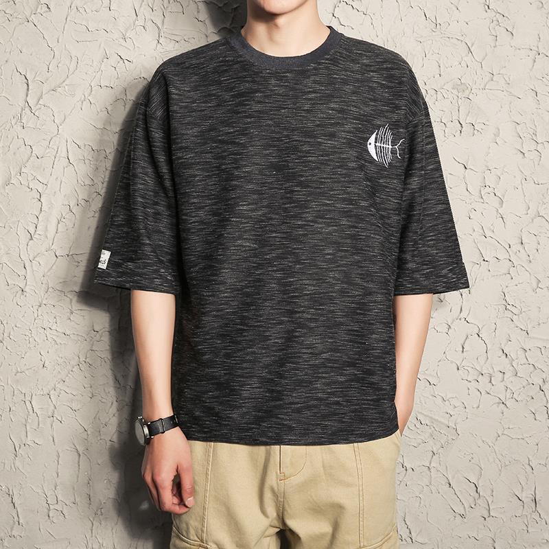 加大刺绣夏季五分衫韩版短袖男装潮流体恤半袖男士