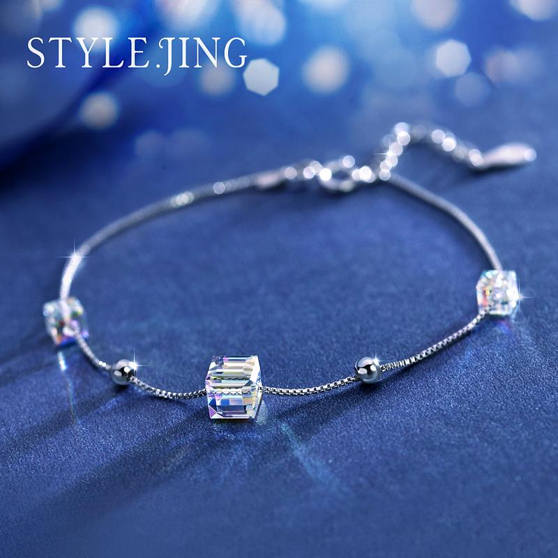 静风格悦动之心手链女 采用施华洛世奇元素水晶925银时尚简约魔方