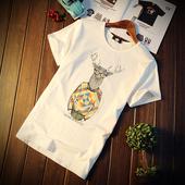 夏季短袖T恤男青年大码时尚卡通印花体恤纯棉半截袖打底上衣服潮