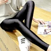 打底裤女外穿不加绒夏季薄款大码高腰紧身显瘦黑色春秋光泽裤亮面