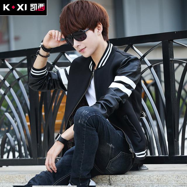 男士外套青年修身型男装夹克日系棒球服男休闲薄款PU皮韩版衣服潮