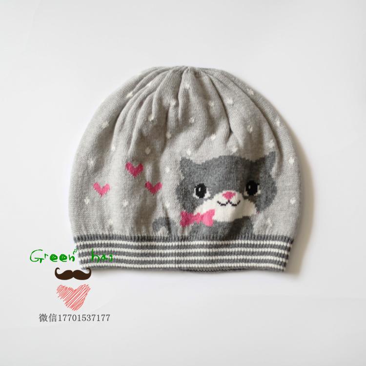 外贸原单新款纯棉爱心小猫咪针织帽宝宝帽子中小女童