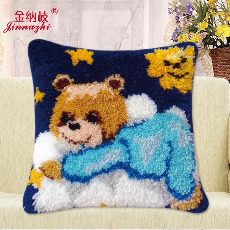 绣靠枕地毯绣抱枕粗毛线十字绣绒绣钩针秀zd140小熊