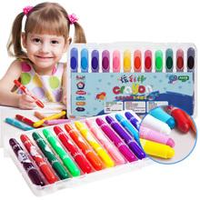 童木城儿童蜡笔无毒可水洗宝宝画笔小滑旋转蜡笔幼儿彩笔油画棒