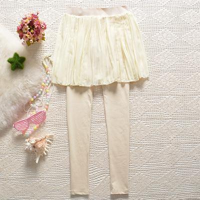 春秋季新款假两件打底裤裙裤长裤子小百褶薄款女装外穿