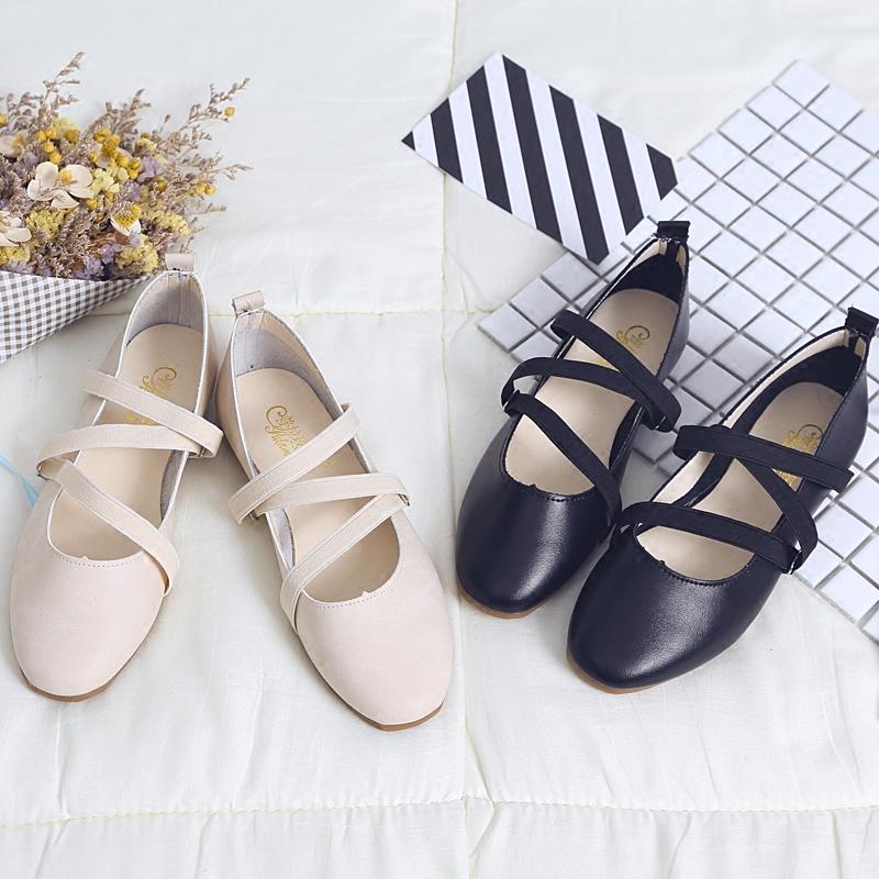 女鞋单鞋松紧带芭蕾鞋软底复古舞鞋平底牛筋豆豆玛丽