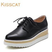 接吻猫松糕圆头小白鞋英伦厚底单鞋女DA75699-51图片