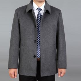 中老年人外套夹克男士老人秋冬装加厚爸爸男装中年羊毛呢翻领外衣