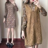 2017春装新款韩版长袖V领雪纺蕾丝中长款套装两件套女碎花连衣裙