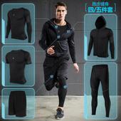 健身房运动服套装男紧身衣跑步服速干训练篮球服套装健身服三件套