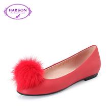 哈森 春热卖通勤圆头浅口女鞋毛毛球平跟平底女单鞋HL62408图片