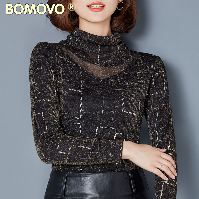 Bomovo冬季清仓欧美大码女装高领长袖网纱打底衫加绒加厚上衣女