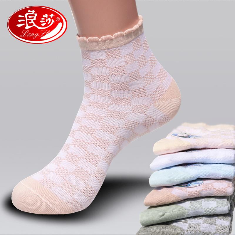 超薄透气网眼纯色夏天短袜夏季中筒袜袜子运动纯棉