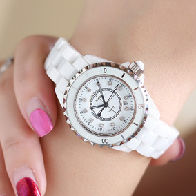 劳士顿手表女表石英表陶瓷表新款潮流时尚白色镶钻防水女士腕表