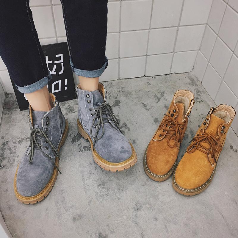 冬季潮流马丁靴男英伦高帮鞋男内增高麂皮短靴百搭厚底男加绒靴子