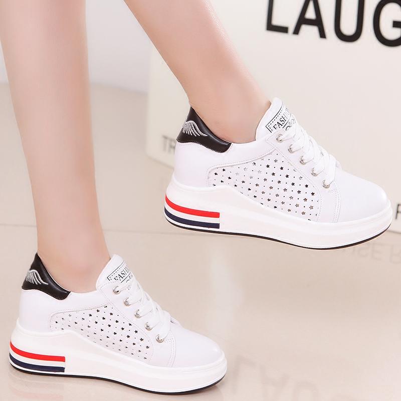 夏季韩版厚底百搭小白鞋女镂空增高透气运动鞋休闲女鞋