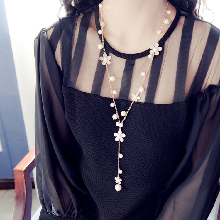 时尚长款挂链项链装饰品郁金香配饰元韩版毛衣