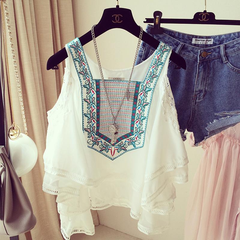夏季民族女装时尚气质女露肩雪纺衫蕾丝短袖刺绣拼接上衣
