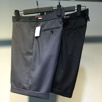 夏季西装短裤男tb条纹欧美宽松th