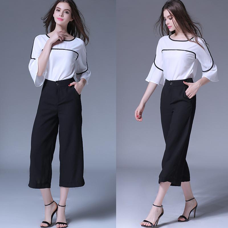 都市时尚白领女装纯色七分袖上衣 休闲时尚套装九分阔腿裤 两件套