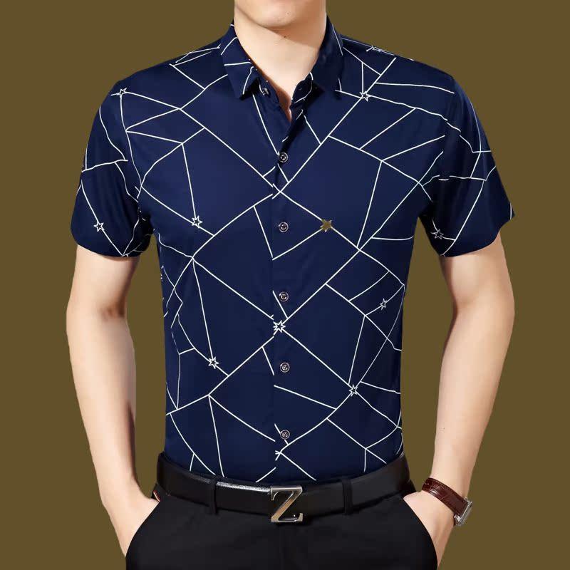 夏季大码男装衬衫纯棉男士短袖中年商务上衣半袖宽松薄款爸爸装潮