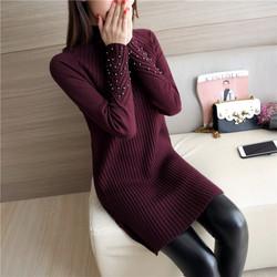 2016秋冬季新款韩版女装钉珠中长款打底针织衫修身毛衣女套头包臀