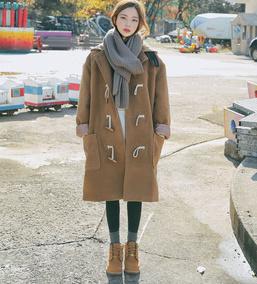 秋冬韩版学院风呢子大衣女中长款2016新款宽松连帽牛角扣毛呢外套