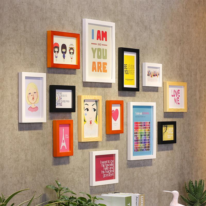 实木照片墙组合客厅卧室创意相片墙现代简约欧式挂钟