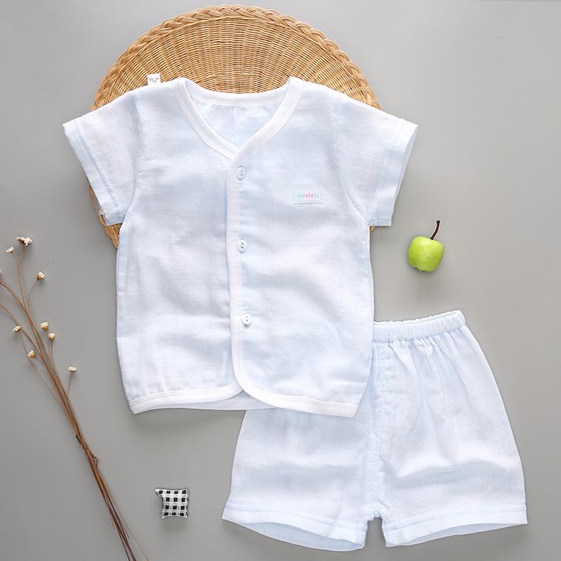 套装衣服空调婴儿夏季纯棉纱布童装宝宝短袖睡衣