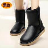冬季加厚加绒雪地靴女中筒靴女雪地棉靴潮防滑保暖防水皮面女式靴