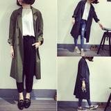 2016秋装新款韩版宽松西装外套上衣长款双排扣风衣女休闲薄款开衫