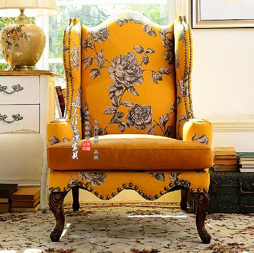 定制美式乡村沙发椅新古典懒人高背椅欧式时尚个性黄