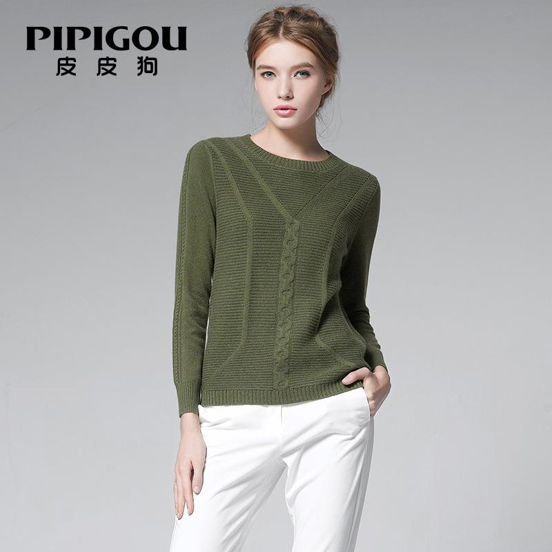 皮皮狗羊绒衫女短款 女装秋冬打底衫 修身圆领套头毛衣纯羊绒