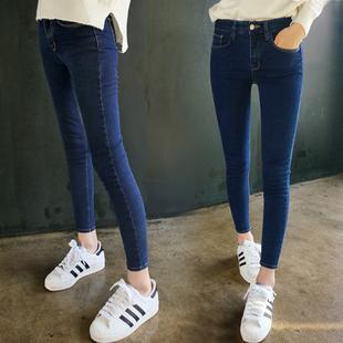 牛仔裤夏季韩版女薄款修身显瘦九分小脚裤春秋弹力学生长裤子 高