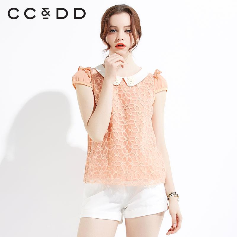 【热】CCDD2015夏装专柜正品清新绣花欧根纱拼接雪纺衫