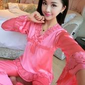 家居服 蕾丝冰丝夏款 长袖 睡衣女春秋夏季丝绸睡衣女夏性感两件套装
