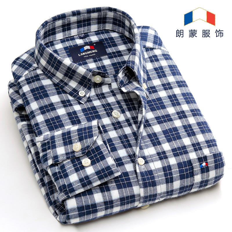 修身衬衫纯棉衬衣格子男士长袖衣服春季休闲男装