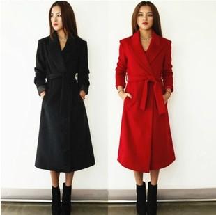 秋冬修身新款女装中长款毛呢外套韩国呢子风衣大衣女限时打折