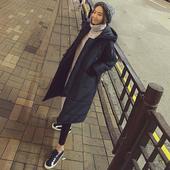 韩版冬季加厚连帽棉衣女中长款韩国宽松过膝纯色棉袄学生棉服外套