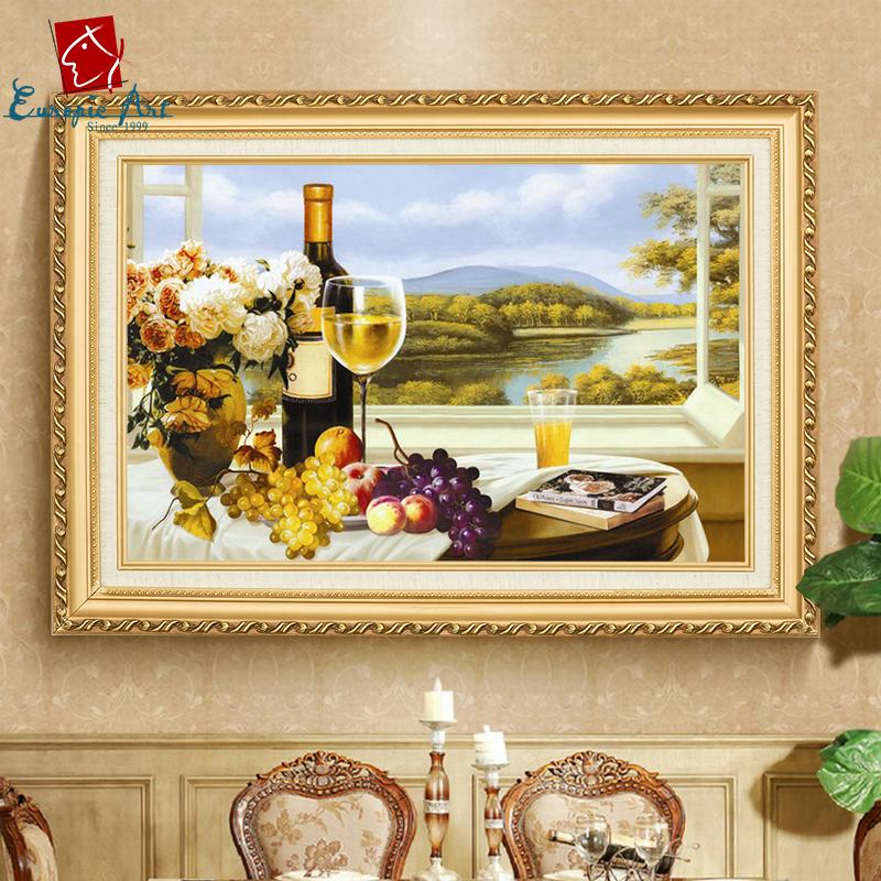 手绘装饰画餐厅挂画风景纯手工壁画欧式