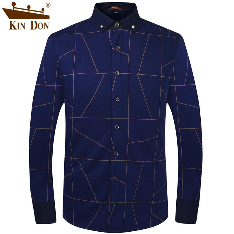 金盾男装冬季针织加厚加绒保暖衬衫男印花保暖衬衣男士长袖寸衫