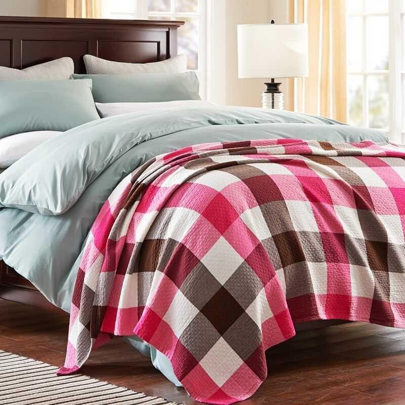 绿蕊家纺 纱布格子毛巾被单双人空调被子夏用薄毯子 韵律格调-蓝?
