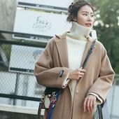驼色呢子大衣女中长款韩版2017新款春装毛呢外套加厚时尚韩国妮子