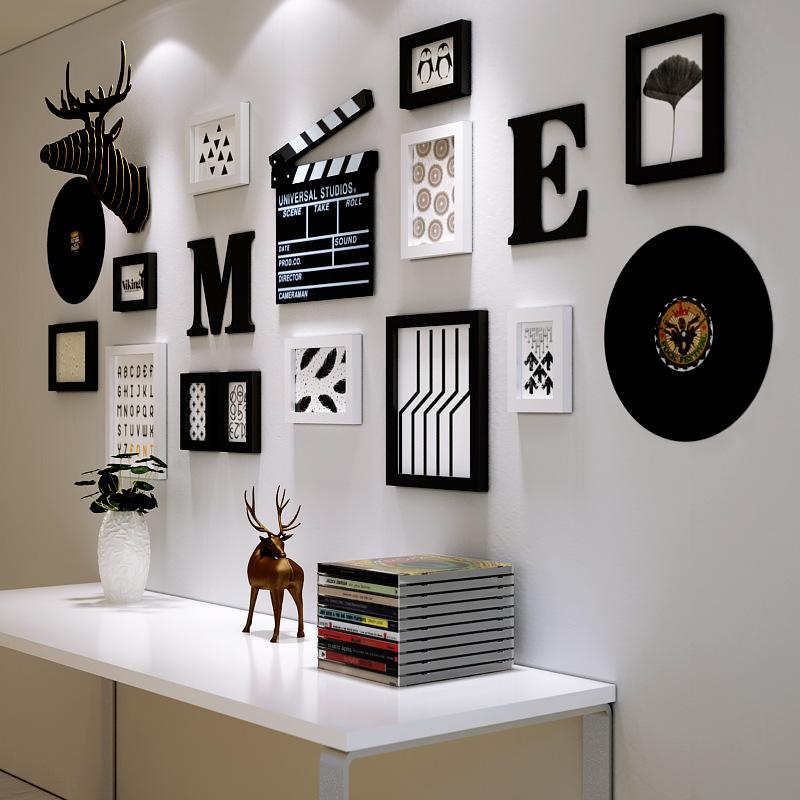 欧式简约照片墙实木画框创意卧室客厅墙面相框组合鹿