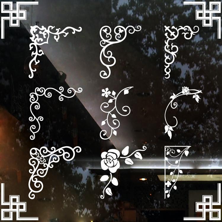 正品打折唯美欧式玻璃门窗对角花贴纸 橱窗装饰家具玻璃镜子拐角花墙贴花 原价12.00元 现价10.80元包邮抢购专卖店品牌专卖